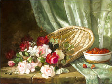 Still life with roses and rasperries