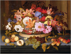 Still Life of Fruit and a Basket of Flowers