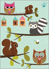 Happy Tree with cute animals - owls, squirrel, racoon