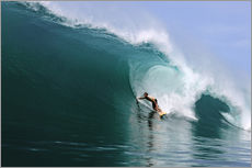 Surfing in a huge green wave, tropical island paradise