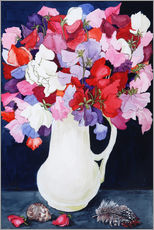 Sweet Peas in a White Jug with Shell and Feather 2011 )