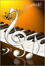 dancing notes with clef and piano keyboard