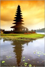 Temple in Bali with reflection in the water, Indonesia