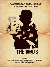 The birds movie inspired hitchcock silhouette art print