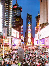 Times square at night illuminated by neon lights, New York city, USA