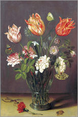 Tulips with other Flowers in a Glass on a Table