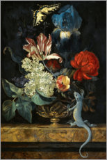 Tulips and other flowers in a vase on a Marble Ledge