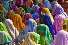 Meeting of many Indian women in colorful saris