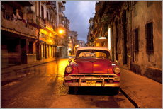 Red vintage American car in Havana