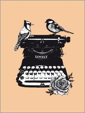 Birds on typewriter machine vintage art print