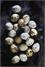 Quail eggs on Ebony