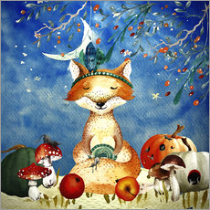woodland friends in autumn- the fox