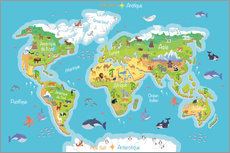 World map for children - French
