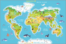 World map with animals (english)