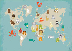 World map with animals for the nursery