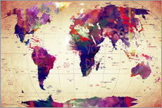 Map of the world vintage