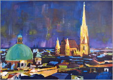 Vienna Skyline at Night with St Stephan