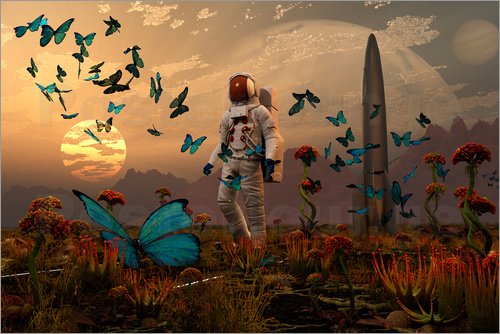 Poster A astronaut is greeted by a swarm of butterflies on an alien world.