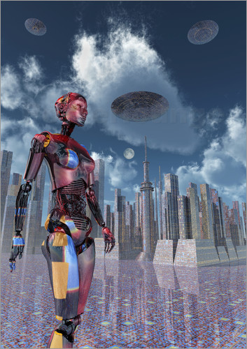 Mark Stevenson - A futuristic city where robots and flying saucers are common place.