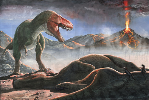 Poster A volcanic eruption destroys the hunting grounds of Tyrannosaurus Rex.