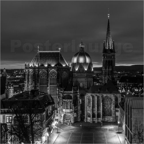 rclassen aachen cathedral at night black white poster. Black Bedroom Furniture Sets. Home Design Ideas