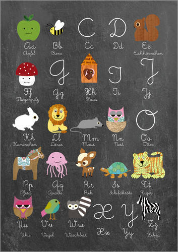 Poster Learn abc on chalkboard