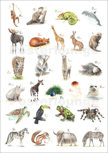 Poster abc animals (German)