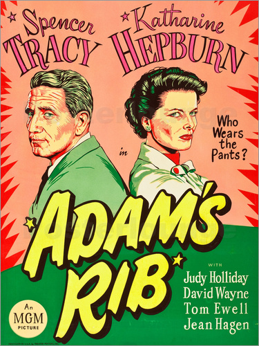 ADAM'S RIB, l-r: Spencer Tracy, Katharine Hepburn on US 1949.