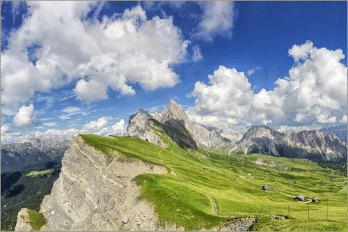 Poster Alps panorama on Seceda with Mount Geisler