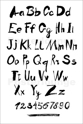 Poster Alphabet & Numbers Calligraphy