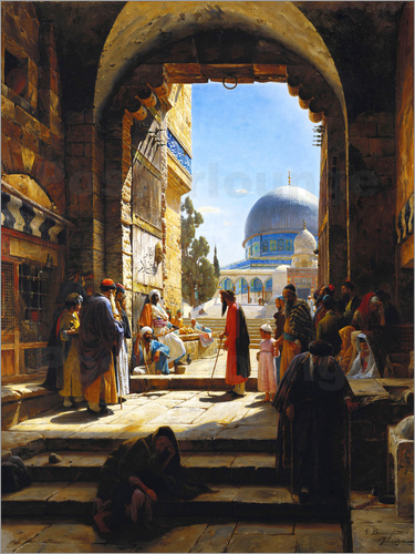 Poster At the Entrance to the Temple Mount, Jerusalem