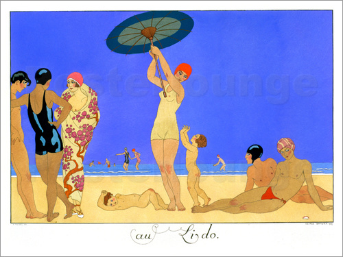 Georges Barbier - At the Lido, engraved by Henri Reidel, 1920