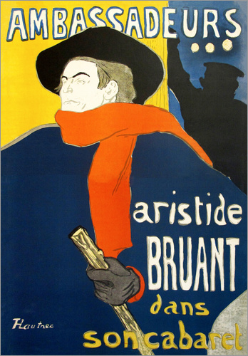 henri de toulouse lautrec ambassadeurs aristide bruant poster posterlounge. Black Bedroom Furniture Sets. Home Design Ideas