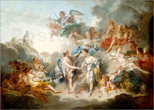 François Boucher - Cupid and Psyche celebrate wedding