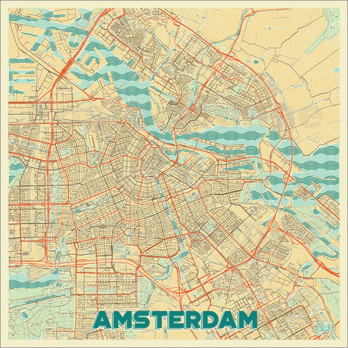 Poster Amsterdam Map Retro