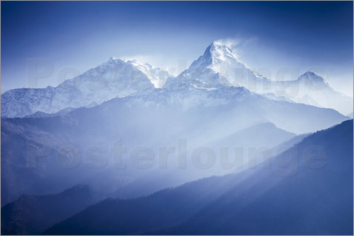 Poster Annapurna mountains in sunrise light