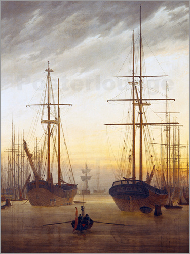 Caspar David Friedrich - View of a harbor
