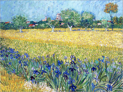 Poster Arles with Irises flowers in the foreground