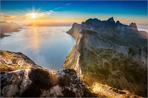 Poster View from Beautiful Segla Mountain, Senja, Norway