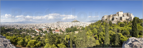 Poster Athens panorama with skyline and acropolis