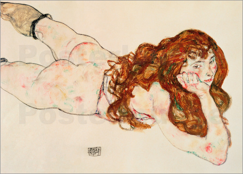 Egon Schiele - Lying on his stomach nude