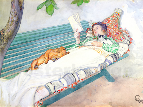 Carl Larsson - Woman Lying on a Bench