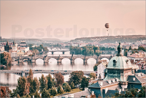 Poster Balloon over the bridges of Prague
