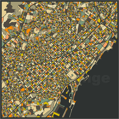 Poster Barcelona Map