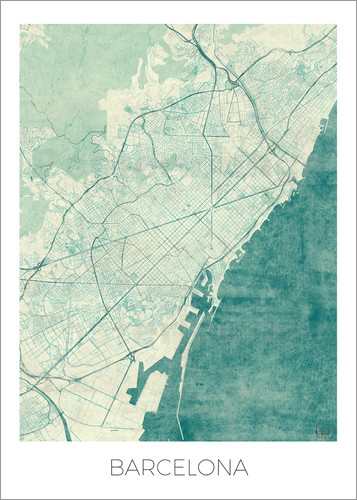 Poster Barcelona Map Blue