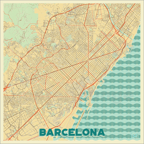 Poster Barcelona Map Retro