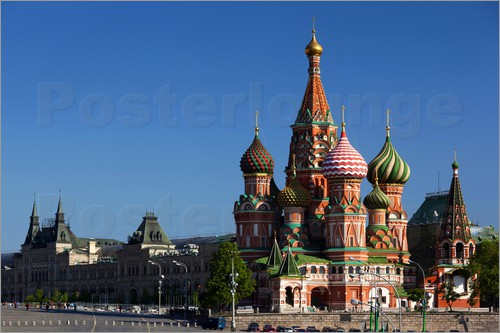 Poster St. Basil's Cathedral on Red Square in Moscow