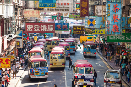 Posters Till Kok :  Colombo Crowded street in Mong Kok, Hong Kong Poster  Posterlounge