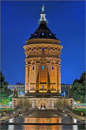 Fine Art Images - Lighted Water Tower in Mannheim