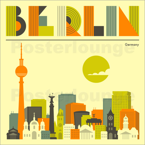 posters affiches de berlin skyline posterlounge. Black Bedroom Furniture Sets. Home Design Ideas